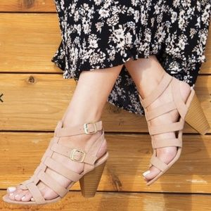 NWT Qupid Taupe Strappy Sandals